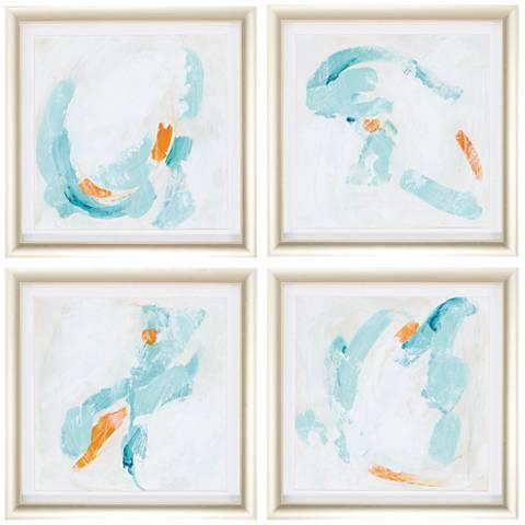"Tidal Current 20"" Square 4-Piece Framed Wall Art Print Set"