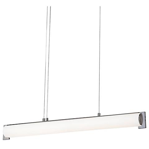 "George Kovacs Tube 30""W Brushed Nickel LED Island Pendant"