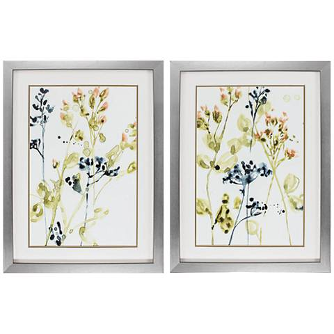 """Blush Buds 35"""" High 2-Piece Framed Floral Wall Art Set"""