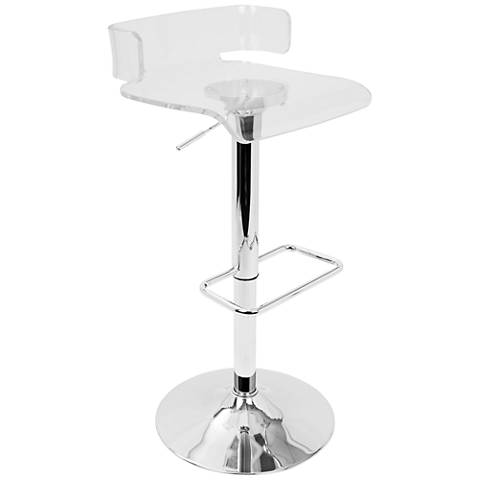 Pride Clear Acrylic and Chrome Adjustable Swivel Bar Stool