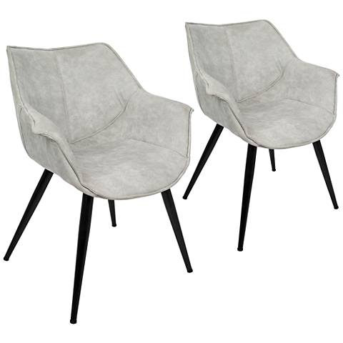 Wrangler Light Gray and Metal Accent Chair Set of 2