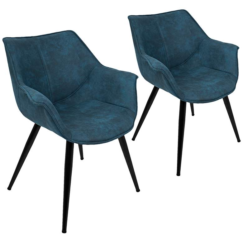 Wrangler Blue and Metal Accent Chair Set of 2