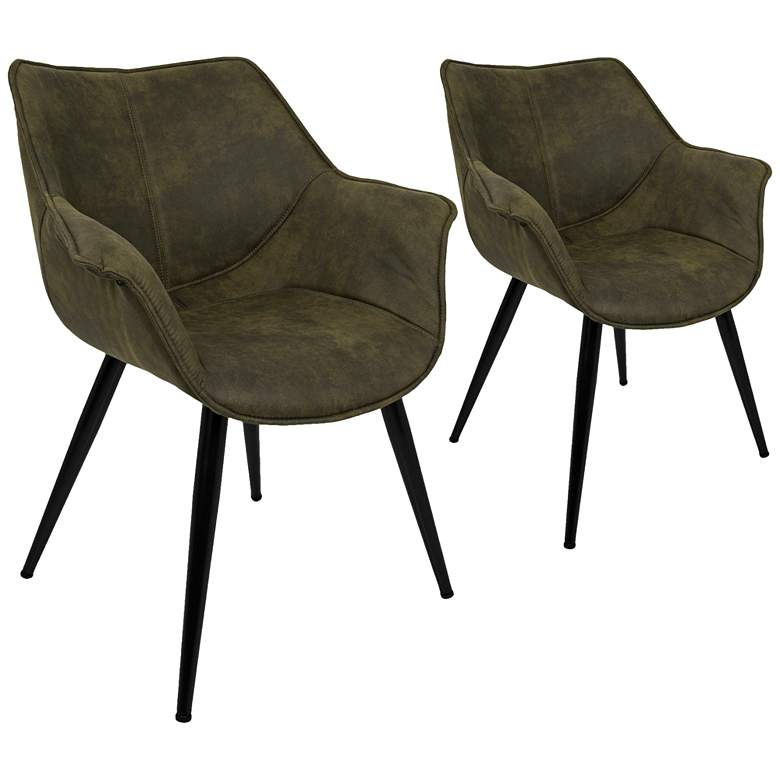 Wrangler Green and Metal Accent Chair Set of 2