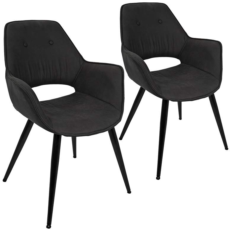Mustang Black and Metal Tufted Accent Chair Set