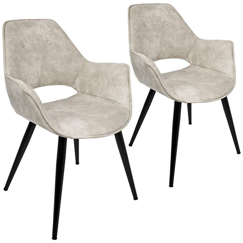 Mustang Beige and Metal Tufted Accent Chair Set of 2