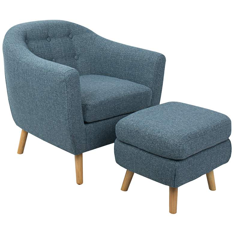 Rockwell Blue Noise Fabric Accent Chair with Ottoman