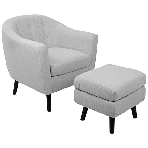 Rockwell Light Gray Noise Fabric Accent Chair with Ottoman