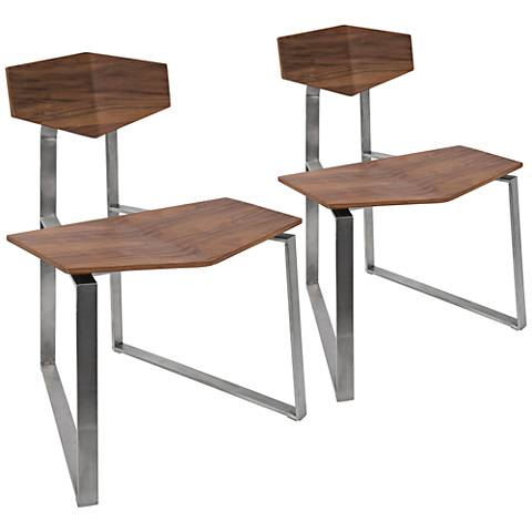 Flight Walnut Wood and Chrome Accent Chair Set of 2