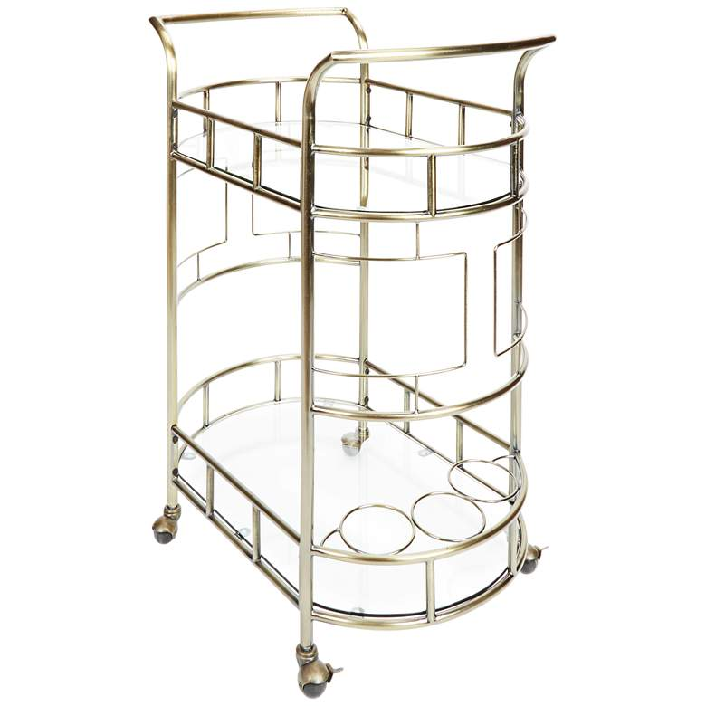 """Sinclair 26 1/2"""" Antique Gold and Glass 2-Tier Serving Cart"""