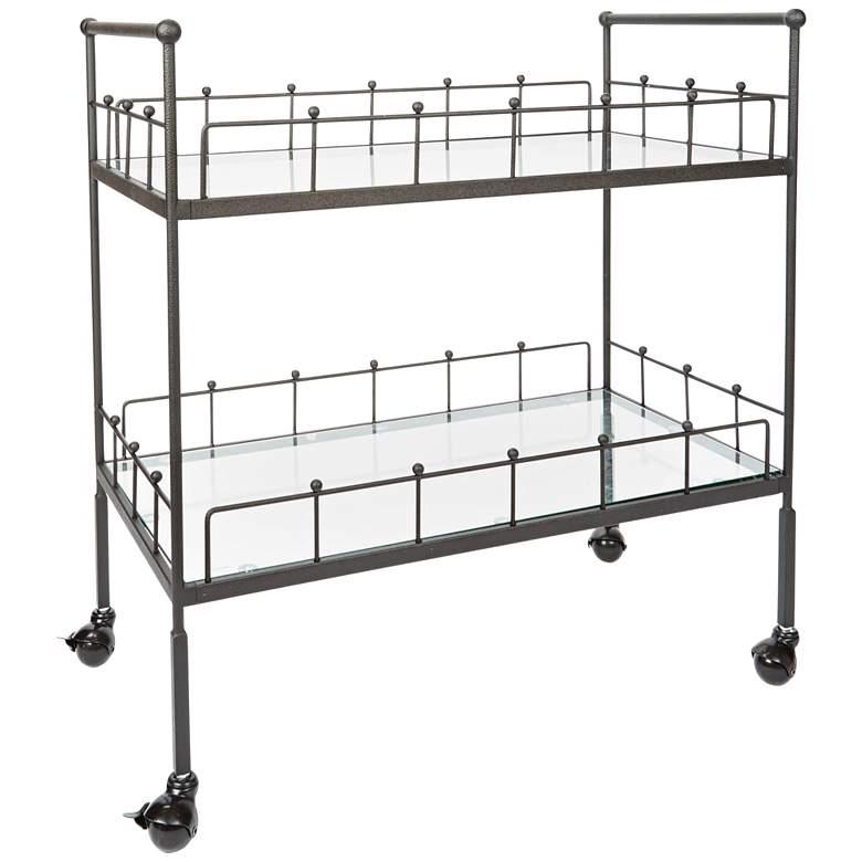 "Fitz 30"" Wide 2-Tier Bronze and Glass Serving Cart"