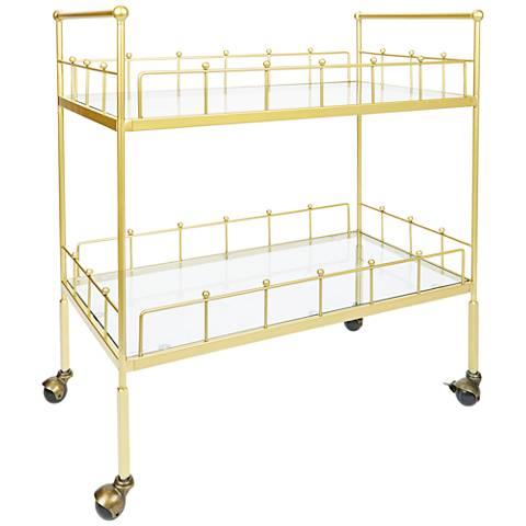 Fitz Gold and Glass 2-Tier Rectangular Serving Cart