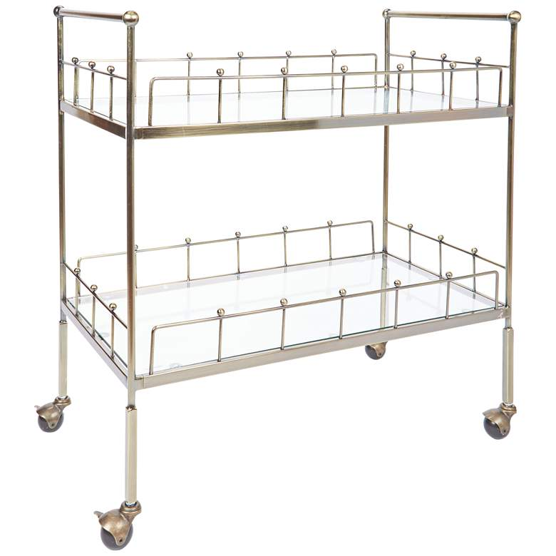 """Fitz 30"""" Wide 2-Tier Antique Gold and Glass Serving Cart"""