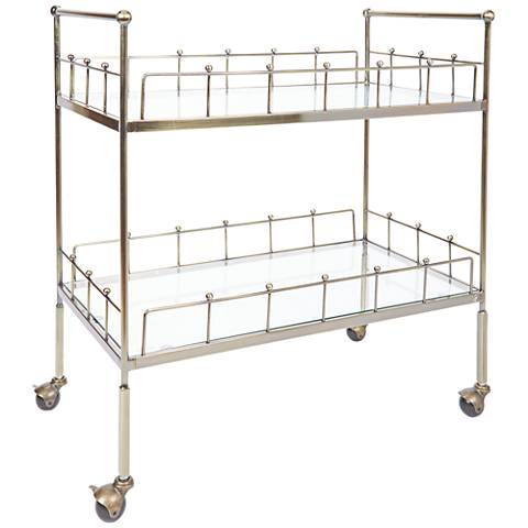 Fitz Antique Gold and Glass 2-Tier Rectangular Serving Cart