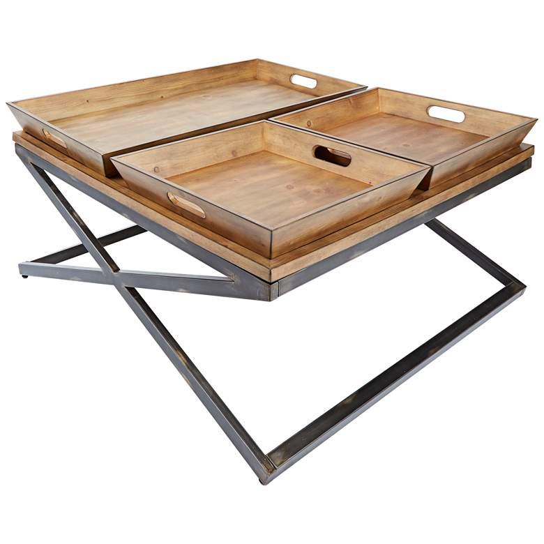 "Calhoun 38"" Wide Industrial Modern Three Tray Coffee Table"