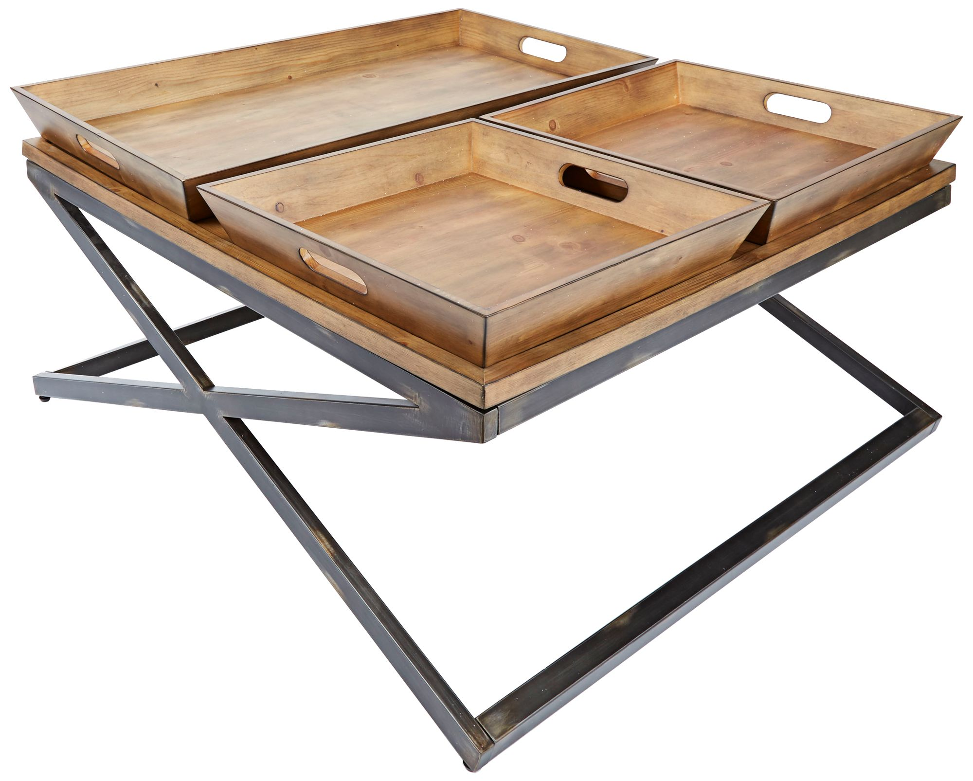 Calhoun Industrial Wood Top And Steel Square Coffee Table   #15K07 | Lamps  Plus