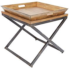 Calhoun Industrial Wood Top and Steel Square End Table
