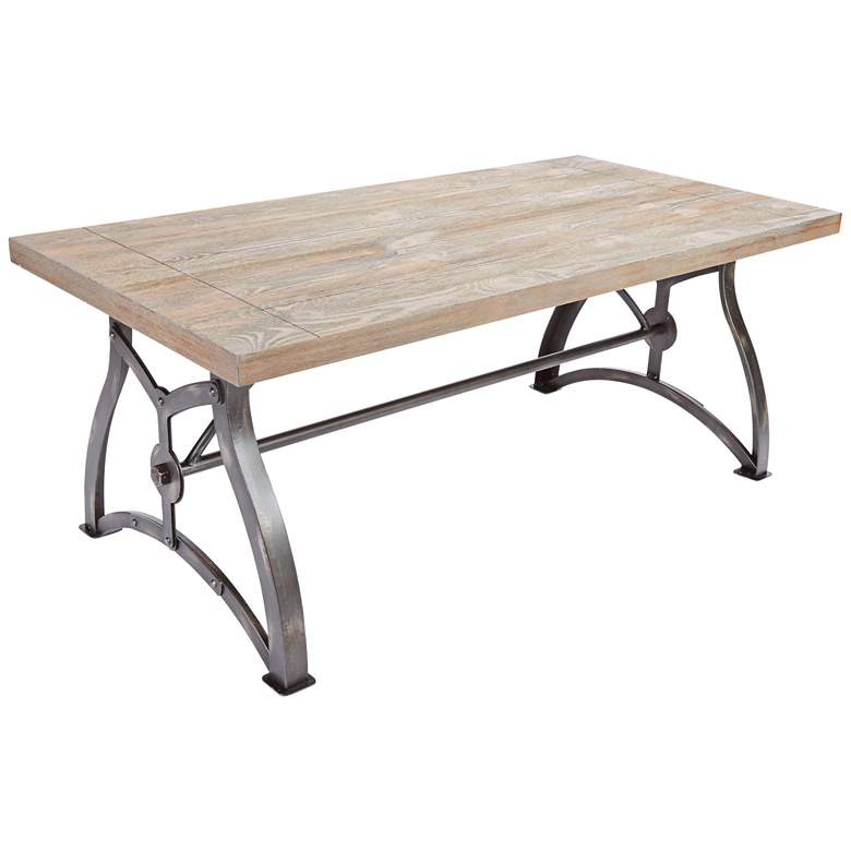"Beckett 48"" Wide Steel and Industrial Wood Coffee Table"