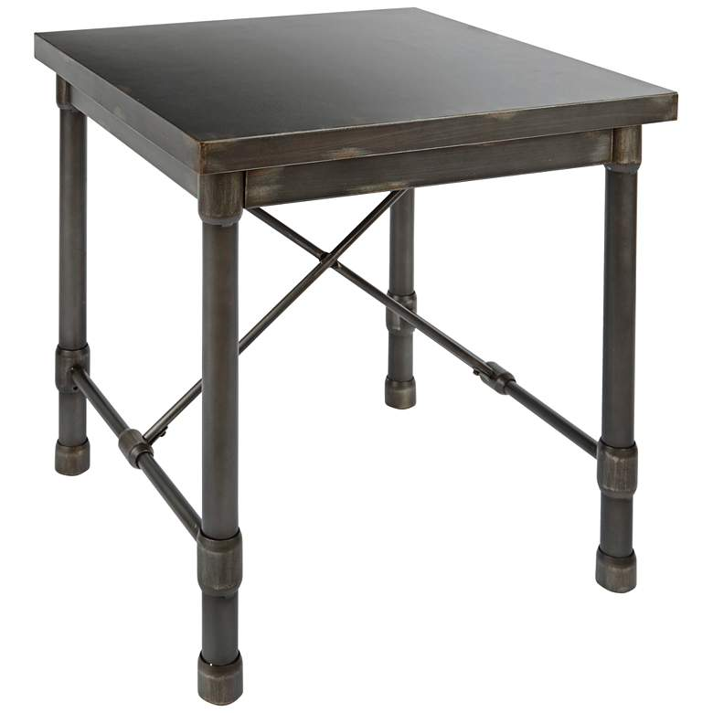 """Oxford 38"""" Wide Bronze Pewter Industrial Metal End Table"""