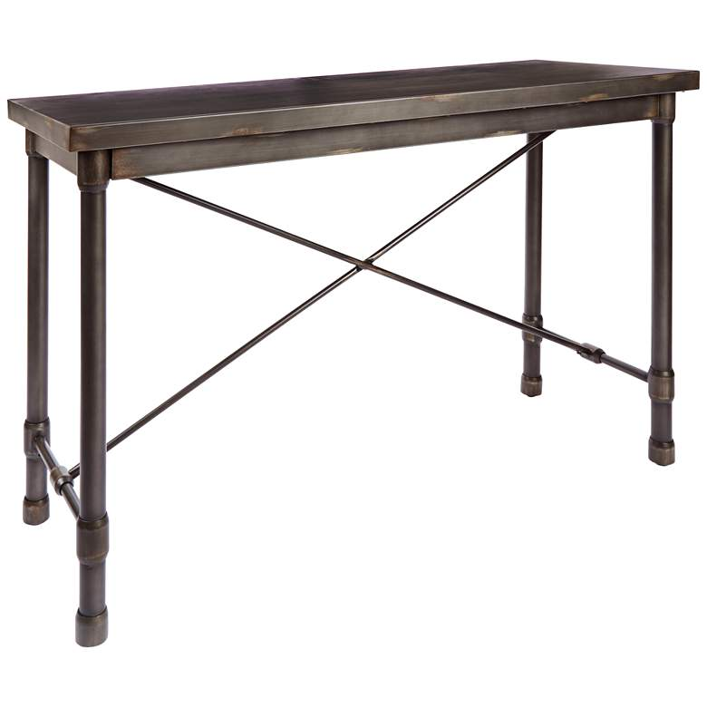 """Oxford 48"""" Wide Bronze Pewter Industrial Metal Console"""