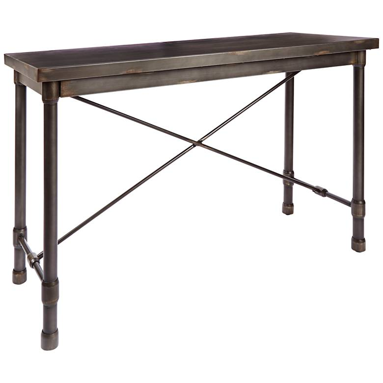 """Oxford 48"""" Wide Bronze Pewter Industrial Metal Console Table"""