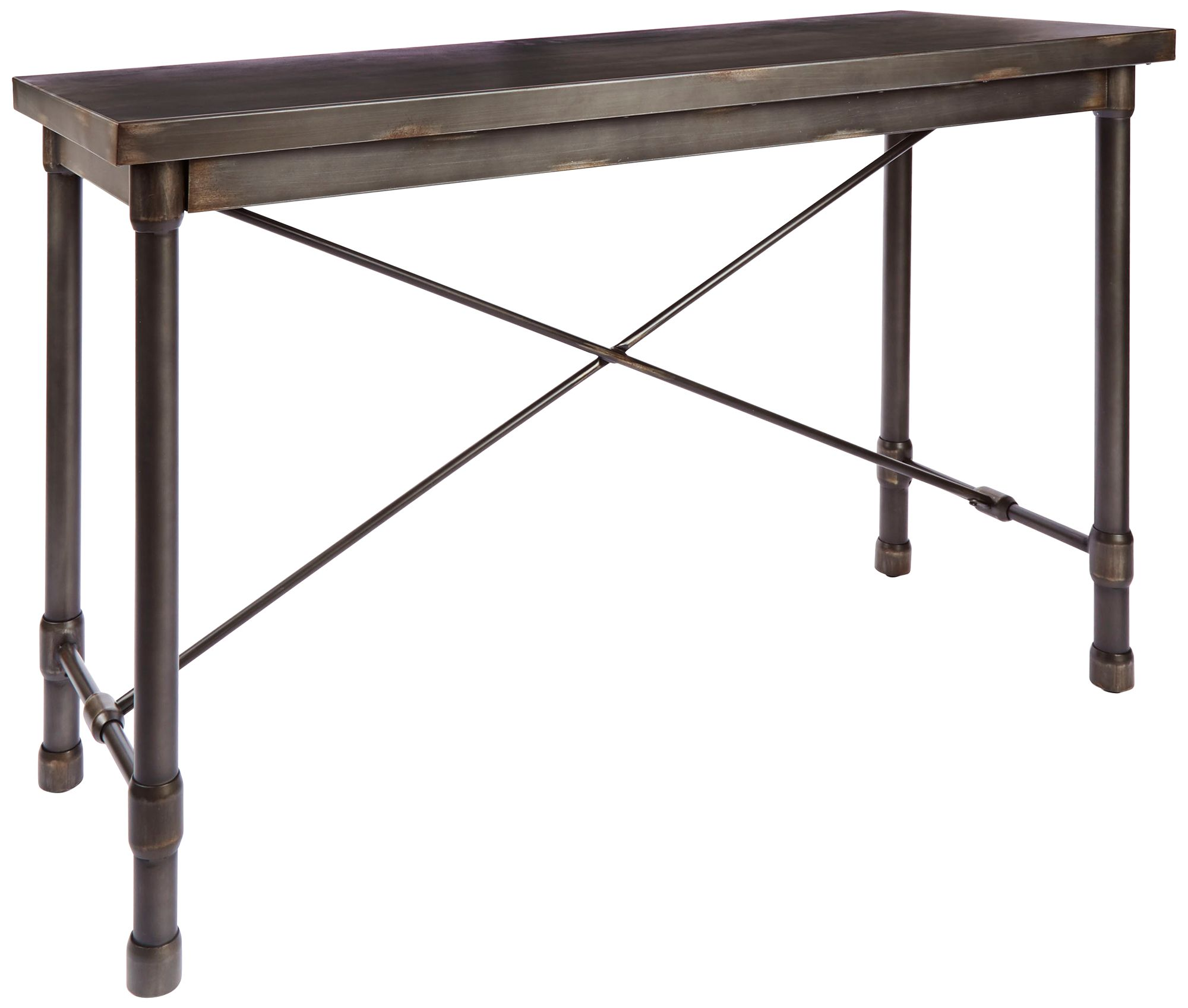 Merveilleux Oxford Industrial Bronzed Pewter Metal Console Table