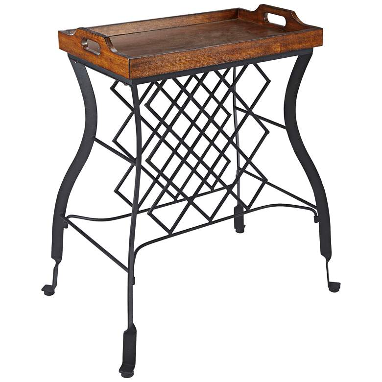 "Hawthorne 23 3/4"" Wide Wood and Steel Wine Rack Side Table"