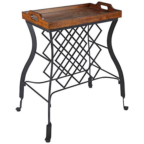 Hawthorne Wood Top and Steel Console Table and Wine Rack