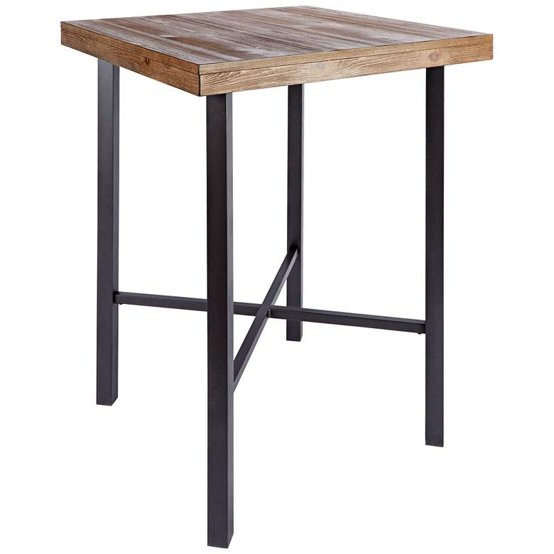 "Fowler 32"" Wide Industrial Wood and Steel Square Pub Table"
