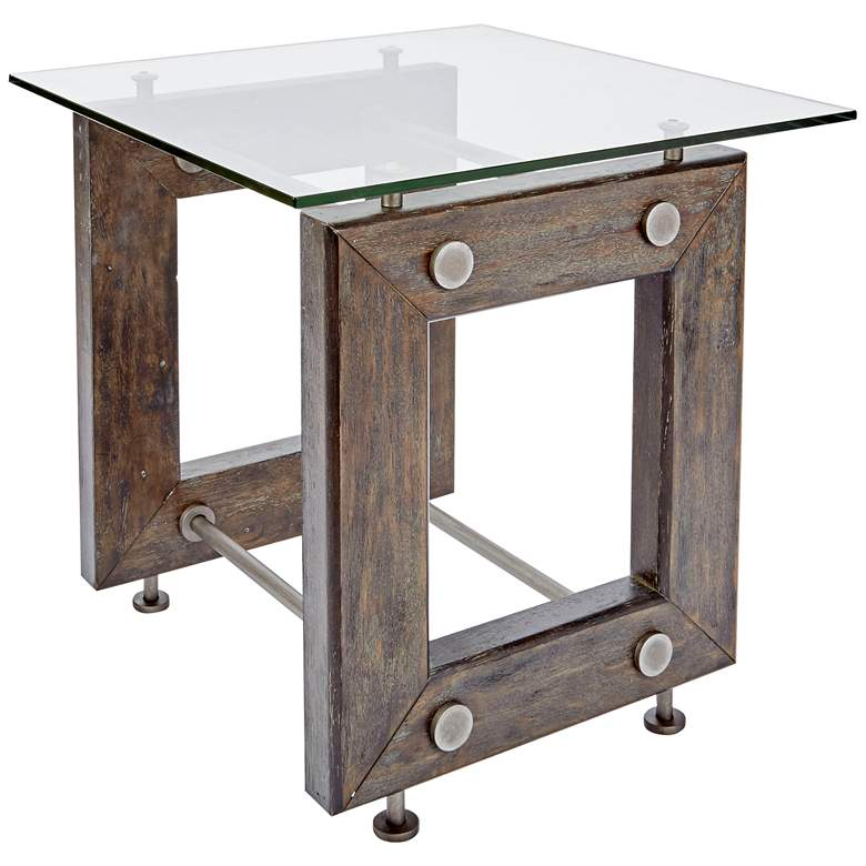 """Knox 24"""" Wide Glass and Wood Industrial End Table"""