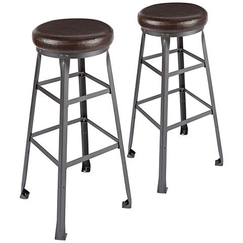 "Preston Industrial 32"" Faux Leather Barstool Set of 2"