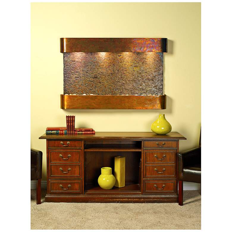 """Sunrise Springs 35""""H Round Rustic Slate Indoor Wall Fountain"""