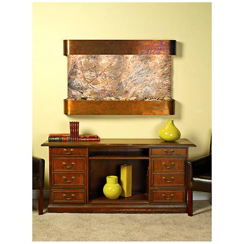 """Sunrise Springs 35""""H Round Rustic Brown Indoor Wall Fountain"""