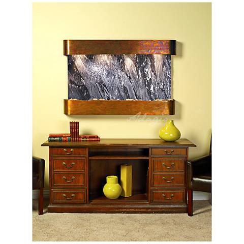 "Sunrise Springs 35""H Round Rustic Black Indoor Wall Fountain"