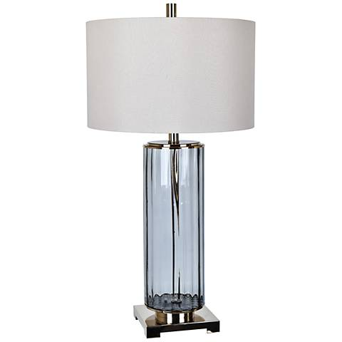 Crestview Collection Prestige Gray Glass Cylinder Table Lamp
