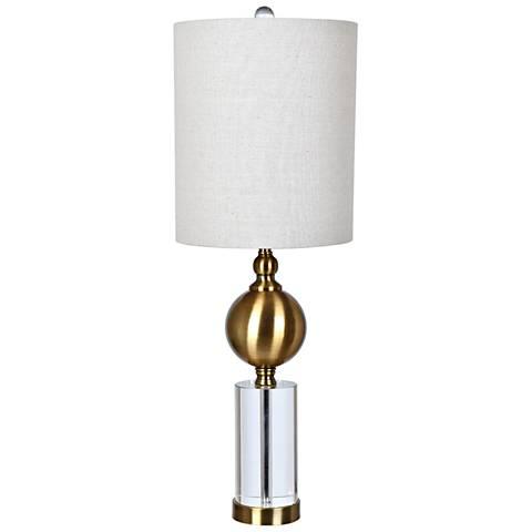 Crestview Collection Dupuis Antique Brass Column Table Lamp