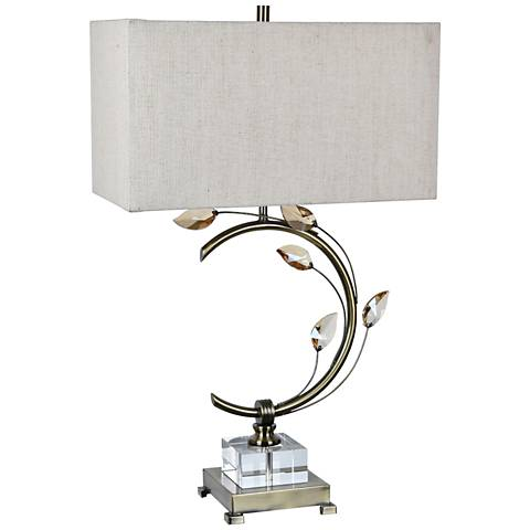 Crestview Collection Laura Brushed Nickel Floral Arc Table Lamp