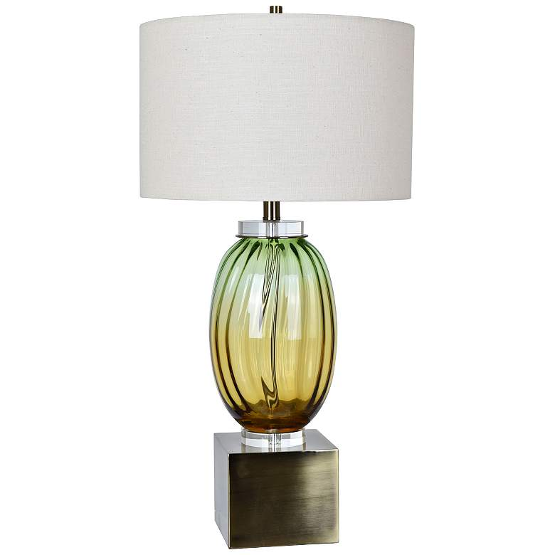 Crestview Collection Carlyle Yellow-Green Glass Jug Table Lamp