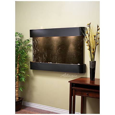 """Sunrise Springs 35""""H Black Stone Round Indoor Wall Fountain"""