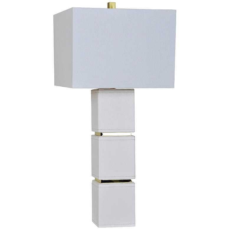 Crestview Collection Gram White Leather Stacked Cube Table