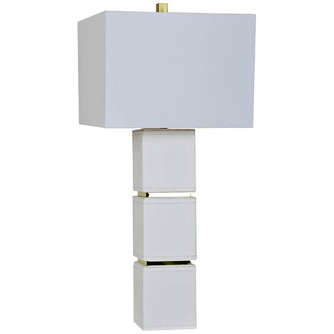Crestview Collection Gram White Leather Stacked Cube Table Lamp