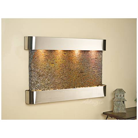"Sunrise Springs 35""H Round Steel Indoor Slate Wall Fountain"