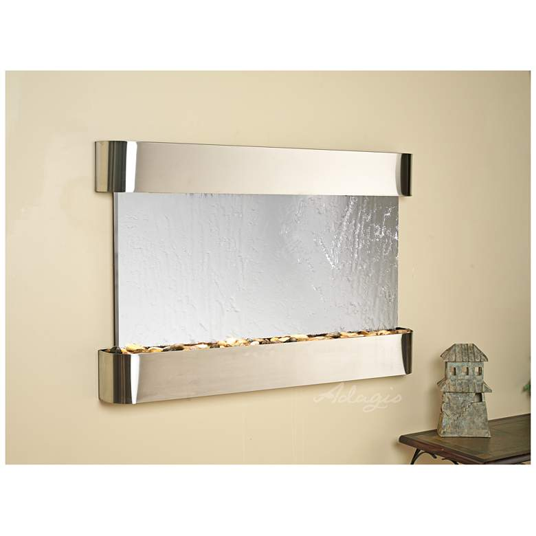 "Sunrise Springs 35""H Round Steel Mirror Indoor Wall Fountain"
