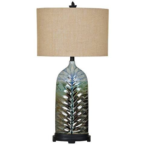 Crestview Collection Rim Blue Feather Ceramic Urn Table Lamp