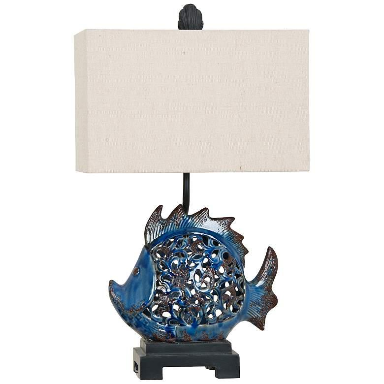Crestview Scales Blue Ceramic Night Light Table Lamp