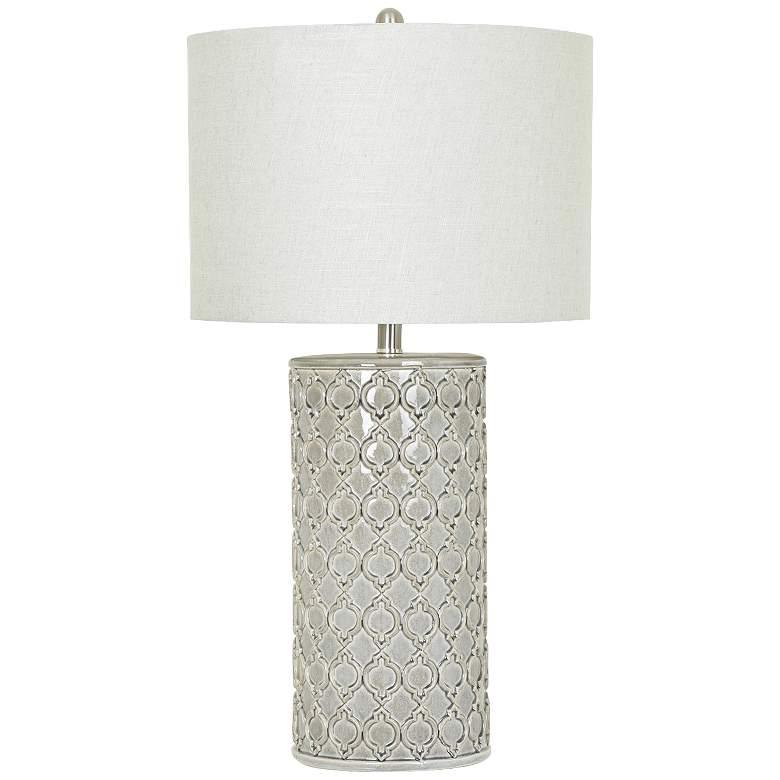 Crestview Collection Kincaid Gray Ceramic Column Table Lamp