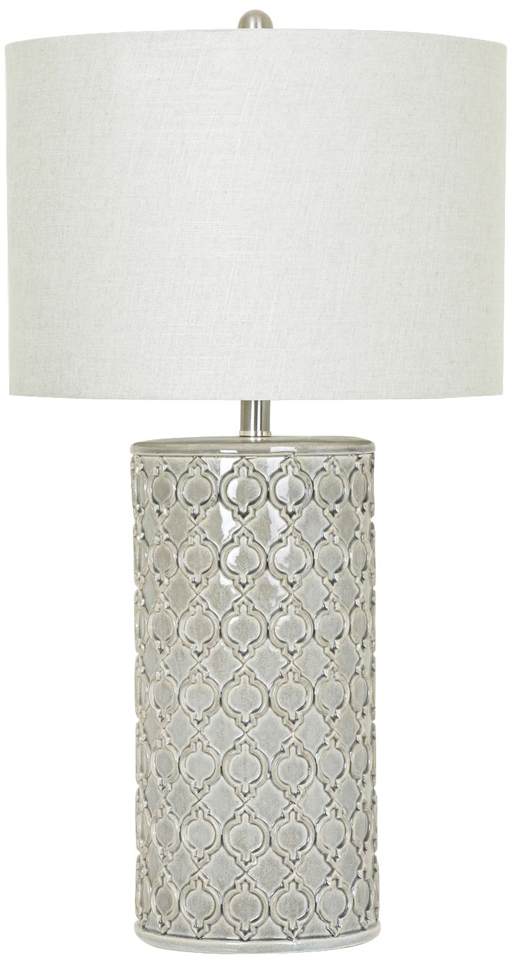 Crestview Collection Kincaid Gray Ceramic Column Table Lamp