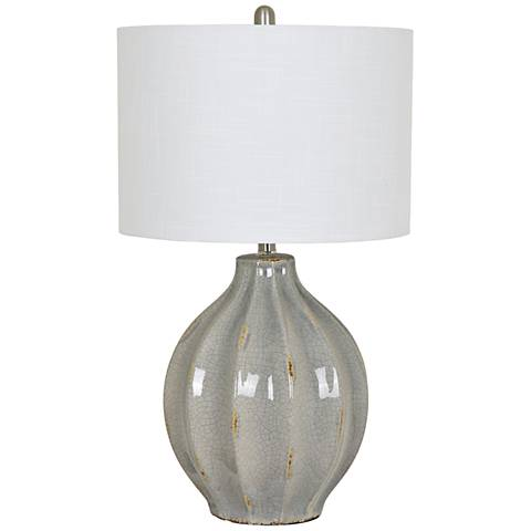 Crestview Collection Perry Gray Ceramic Fluted Urn Table Lamp