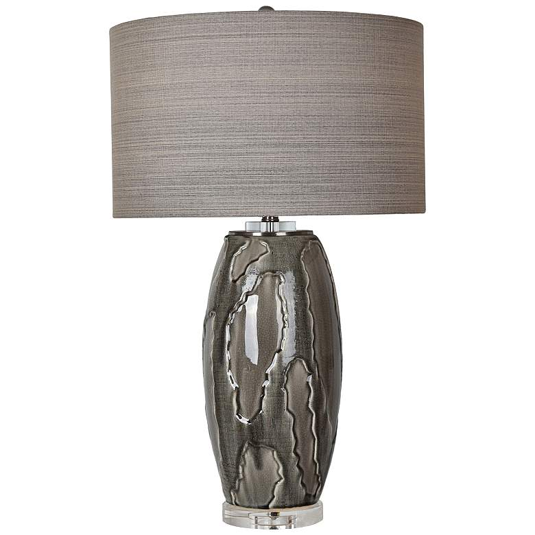 Crestview Collection Pompe Grey Obsidian Ceramic Table Lamp