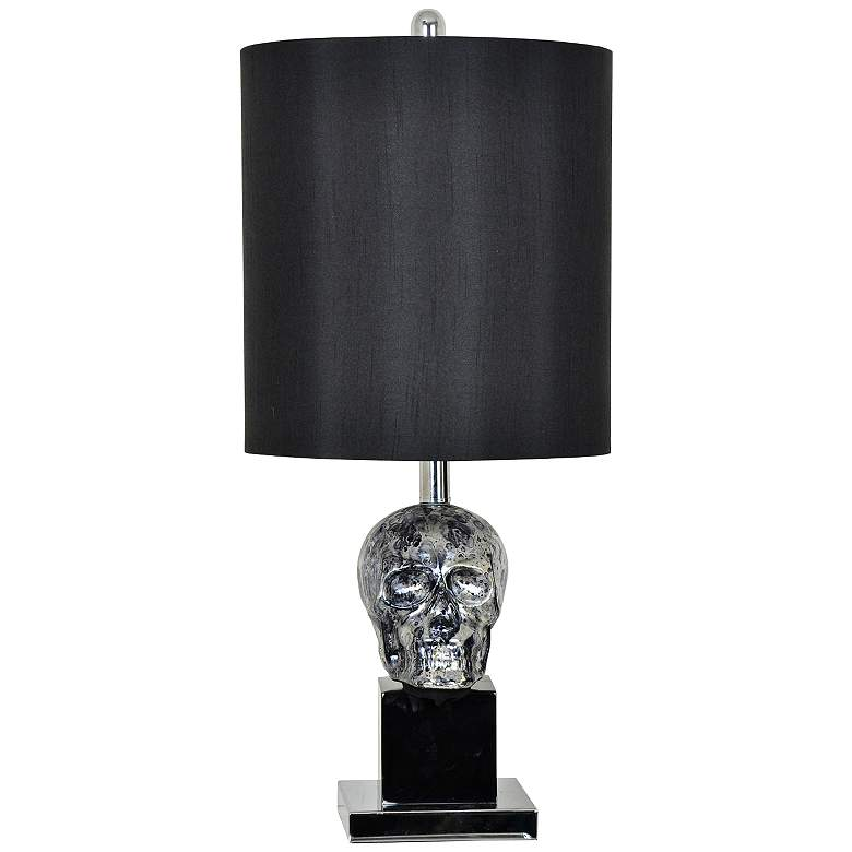 Crestview Collection Glass Black Skull Table Lamp