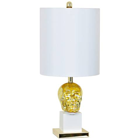 Crestview Collection Golden Skull Sculptural Glass Table Lamp